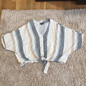 Style Envy striped tie up crop top